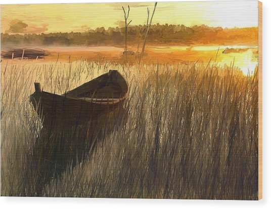 Wooden Boat Finland Wood Print