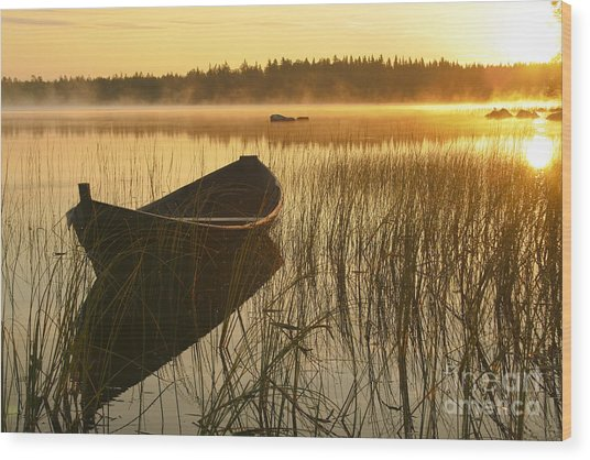 Wooden Boat Wood Print