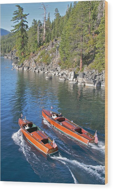 Wooden Boats On Lake Tahoe Wood Print