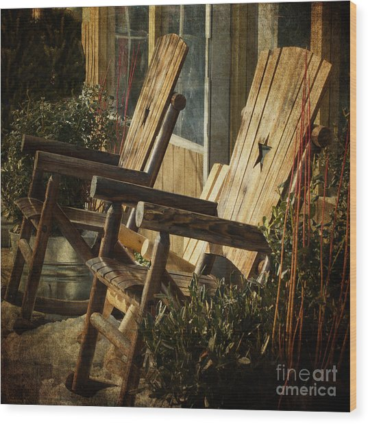 Wooden Chairs Wood Print