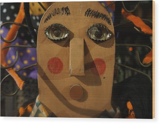 Wooden Face Wood Print
