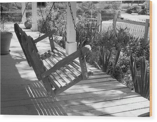 Wooden Front Porch Swing Wood Print