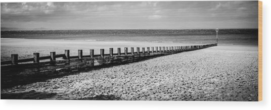 Wooden Groyne Wood Print