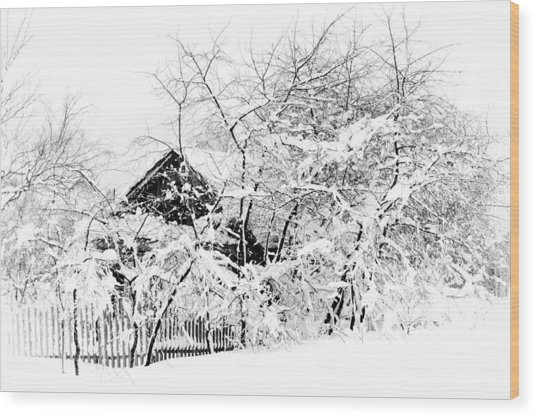 Wooden House After Heavy Snowfall. Russia Wood Print