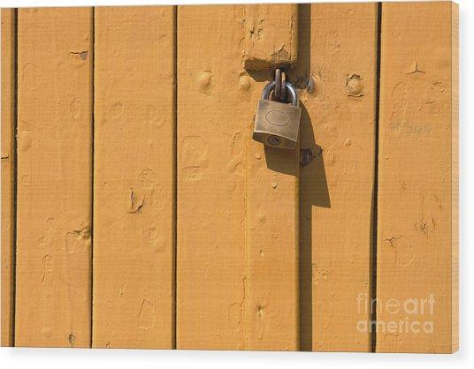 Wooden Plank Door Steel Lock Wood Print