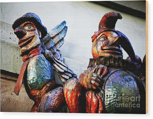 Wooden Statues Wood Print by John Rizzuto