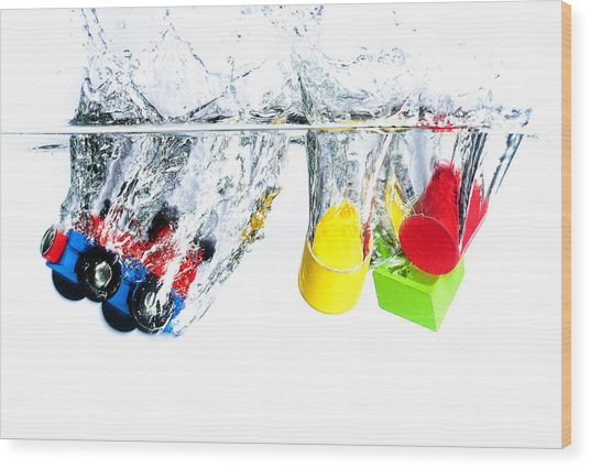 Wooden Toys In Water Wood Print