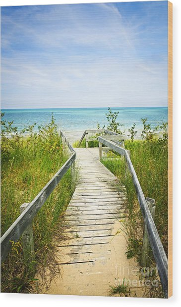 Wooden Walkway Over Dunes At Beach Wood Print