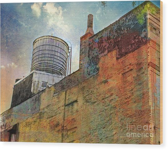 Wooden Water Tower New York City Roof Top Wood Print