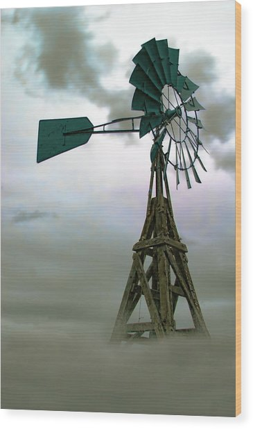Wooden Windmill Wood Print