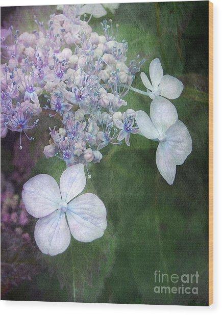 Woodland Hydrangea In Blue Wood Print