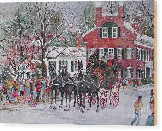 Woodstock Wassail Parade Wood Print by Sherri Crabtree