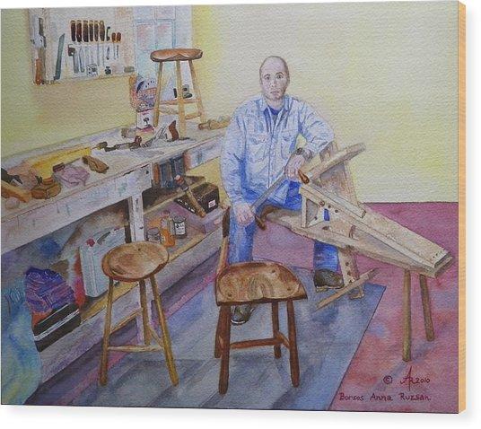 Woodworker Chair Maker Wood Print