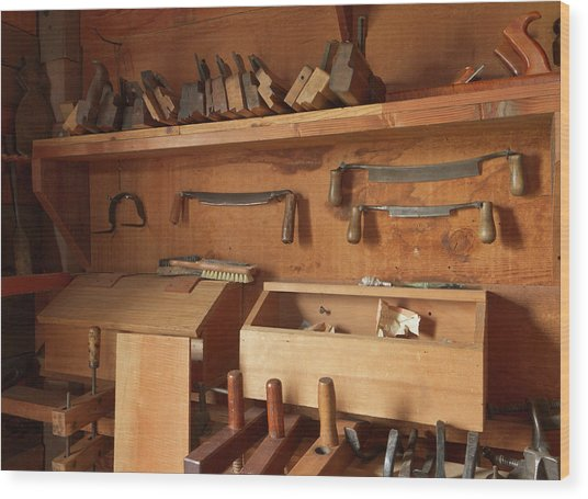 Woodworking Tools In Carpentry Shop Wood Print