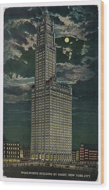 Woolworth Building By Night, New York Wood Print