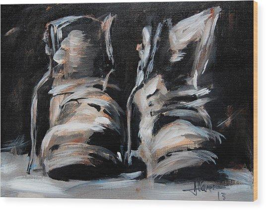 Work Boots Wood Print