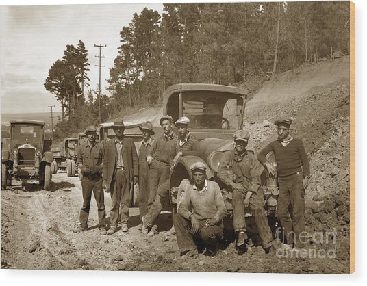 Workers On Highway One Monterey Carmel Hill California 1929 Wood Print