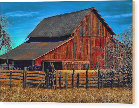 Working Barn Of Yuba County Wood Print