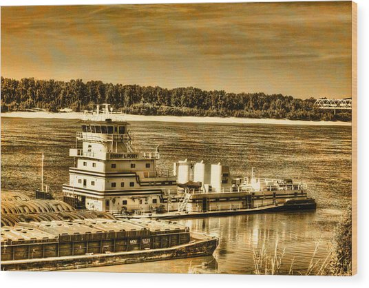 Working The River - Mississippi River Wood Print
