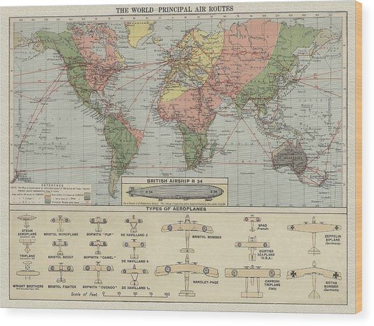 World Air Routes Map 1920 Wood Print