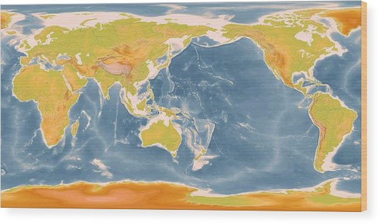 World Geographic Map Enhanced Wood Print by L Brown