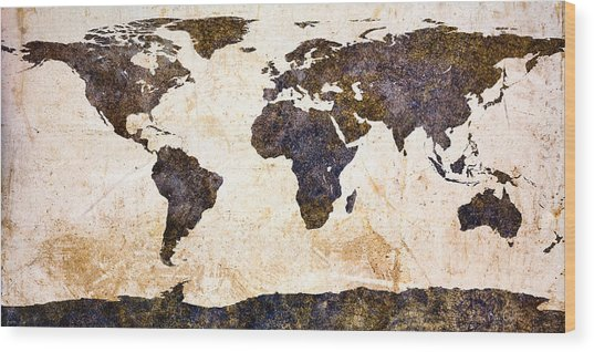 World Map Abstract Wood Print