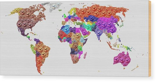 World Map - Soccer Football 2014 Wood Print