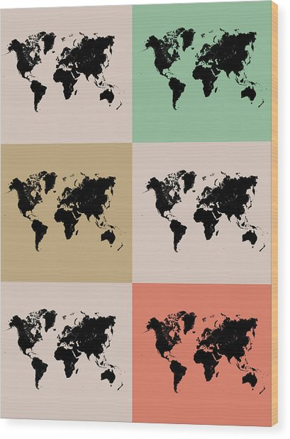 World Map Grid Poster 2 Wood Print