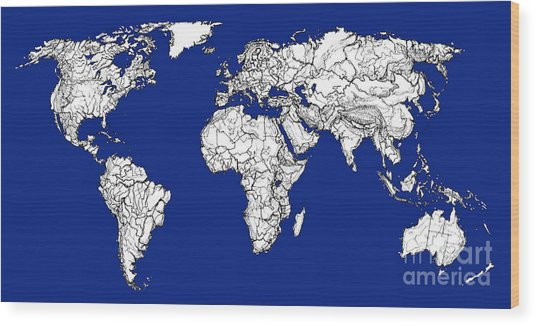 World map in royal blue drawing by adendorff design world map in royal blue wood print by adendorff design gumiabroncs Gallery