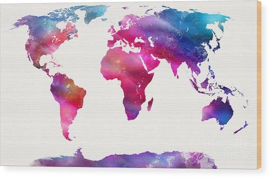 World Map Light  Wood Print
