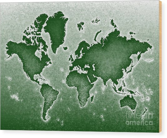 World Map Novo In Green Wood Print