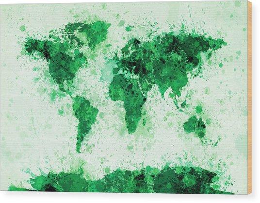 World Map Paint Splashes Green Wood Print by Michael Tompsett
