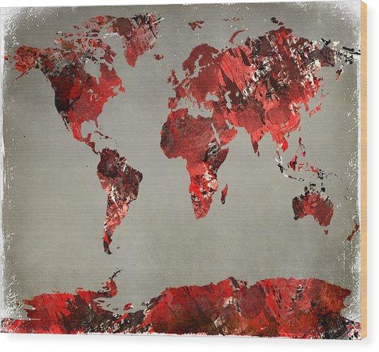 World Map - Watercolor Red-black-gray Wood Print
