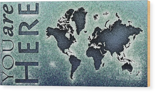 World Map You Are Here Novo In Black And Blue Wood Print