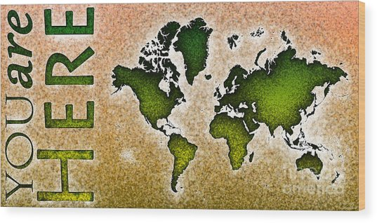 World Map You Are Here Novo In Green And Orange Wood Print