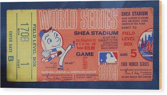World Series Ticket Shea Stadium 1969 Wood Print