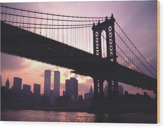 World Trade Towers Manhattan Bridge At Sunset Nyc Wood Print