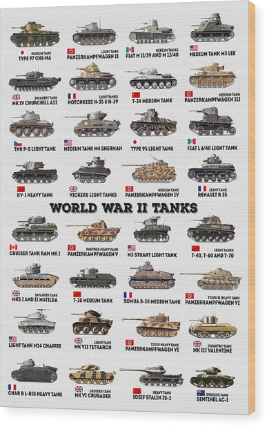 World War II Tanks Wood Print