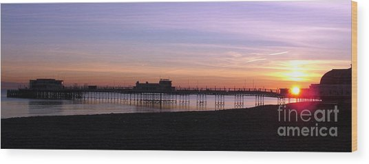 Worthing Pier Sunset Wood Print by Mark Bowden