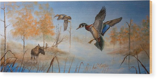 Would Duck Wood Print by Whitey Thompson