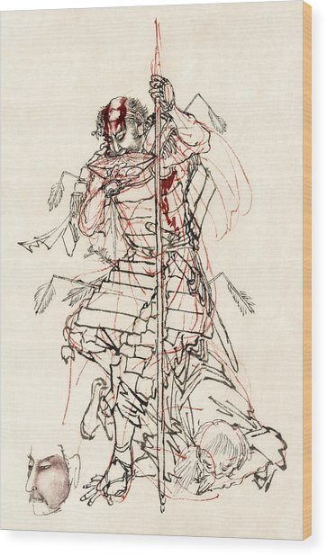 Wounded Samurai Drinking Sake C. 1870 Wood Print