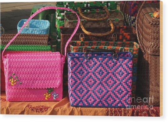 Woven Handbags For Sale Wood Print