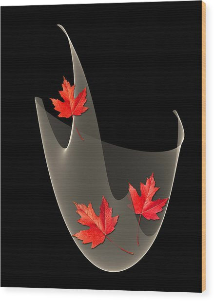 Woven Maple Leaves Wood Print