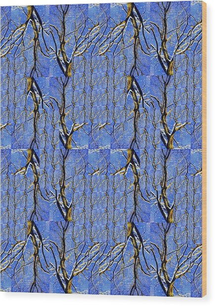 Woven Tree In Blue And Gold Wood Print