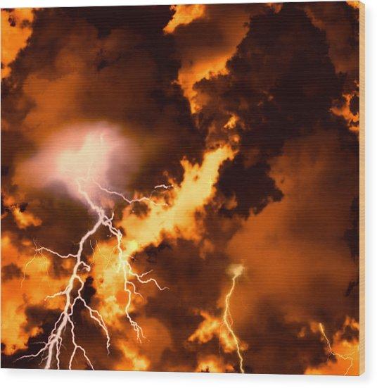 Wrath Of Zeus Wood Print