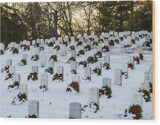 Wreaths At Arlington National Cemetery Wood Print
