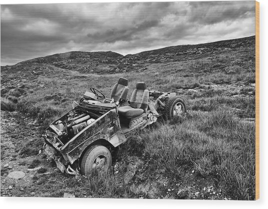 Wrecked Car On Mountain Wood Print