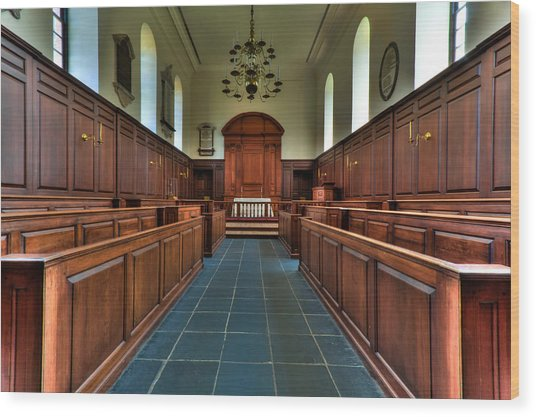 Wren Chapel Interior Wood Print