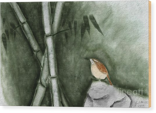 Wren In Bamboo Wood Print