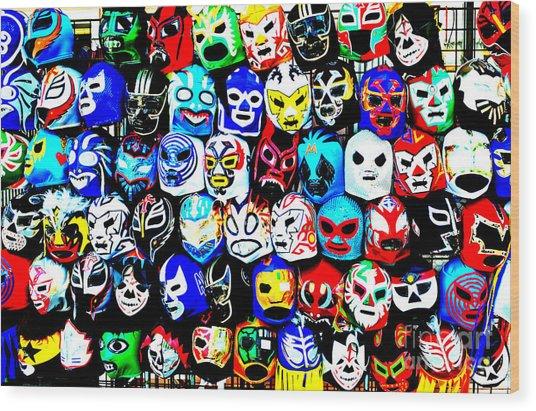 Wrestling Masks Of Lucha Libre Altered Wood Print